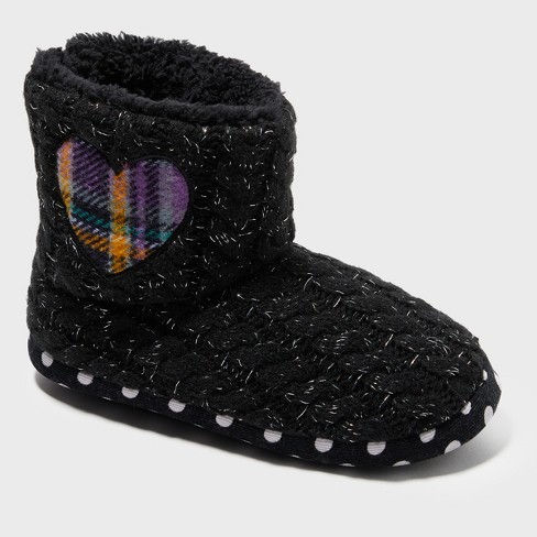 Girls' Dearfoams Sweater Knit Bootie with Heart - image 1 of 4