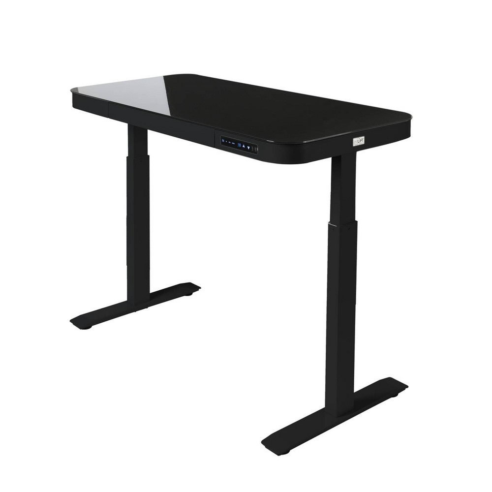 "Image of ""47"""" Tempered Glass Electric Height Adjustable Sit/Stand Desk with 2 USB Ports and Drawer Black - Seville Classics"""
