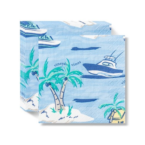 Island Scene Disposable Cocktail Napkins 20ct - vineyard vines® for Target - image 1 of 1