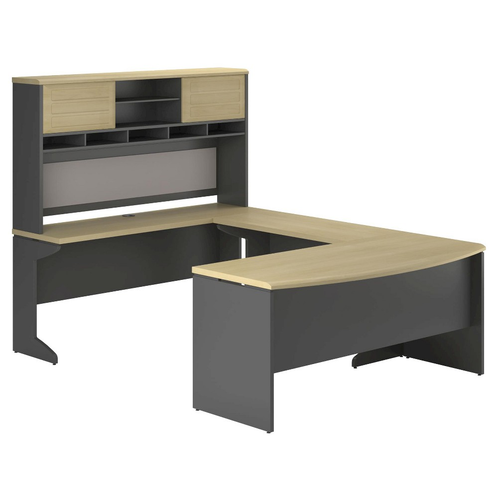 Pursuit Benjamin U-Shaped Desk with Hutch Bundle - Natural/Gray - Ameriwood Home