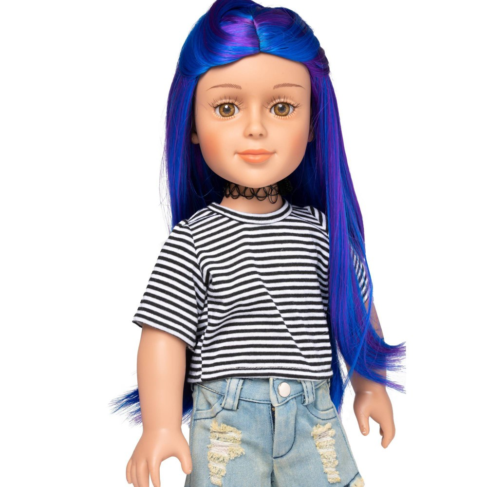 I 39 M A Girly Blue Wig 14 34 Long Straight Synthetic Fiber Hair