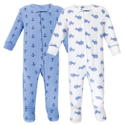 Hudson Baby Infant Boy Cotton Zipper Sleep and Play 2pk, Blue Whales
