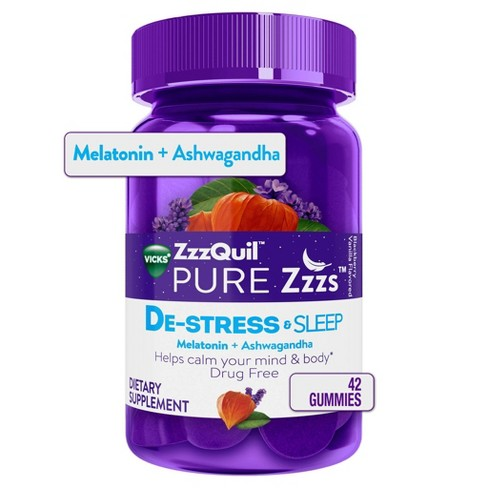 ZzzQuil PURE Zzzs De-Stress & Sleep Gummies - Melatonin + Ashwagandha - Blackberry Vanilla - 42ct - image 1 of 4