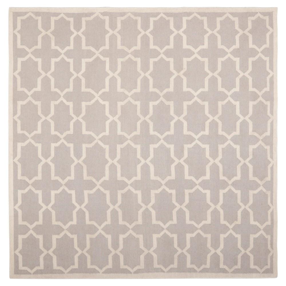 Aklim Dhurry Rug - Grey/Ivory - (8'x8' Square) - Safavieh, Gray/Ivory