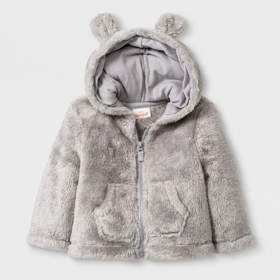 Baby Boys' Critter Zip-Up Sweater with Kangaroo Pocket and Hood - Cat & Jack™ Gray 3-6M