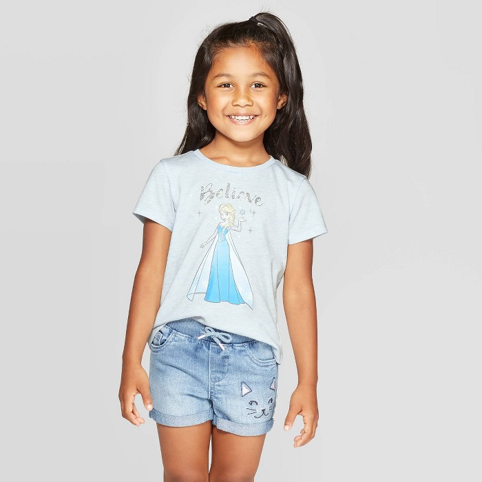 Toddler Girls' Disney Frozen Elsa Believe Short Sleeve T-Shirt - Blue - image 1 of 3