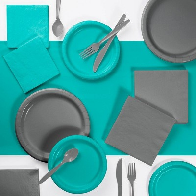 Decorative Party Supply Kit Gray/Teal