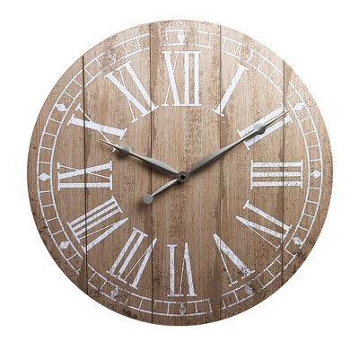 20  Rustic Light Natural Wood Plank Frameless Farmhouse Wall Clock Natural - Patton Wall Decor
