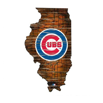 """MLB Chicago Cubs 12"""" State Map Wood Sign"""