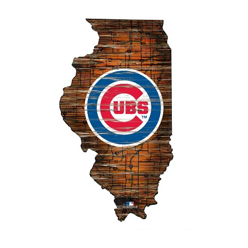 Mlb Chicago Cubs 12 State Map Wood Sign