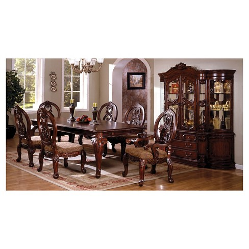 Sun Pine Elegant Carved Padded Arm Chair Wood Antique Cherry Set