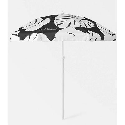 6.5' Round Palm Fronds Beach Umbrella - Black/White - Local Beach