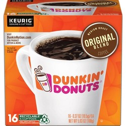 Dunkin' Donuts Original Blend Medium Roast Coffee - Keurig K-Cup Pods - 16ct