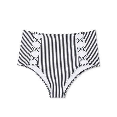 f11029e526 Women s Beach High Waist Strappy Bikini Bottom - Shade   Shore™ Black White  Stripe