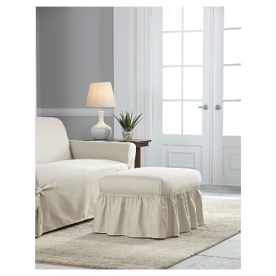 Natural Relaxed Fit Duck Furniture Ruffle Ottoman Slipcover - Serta