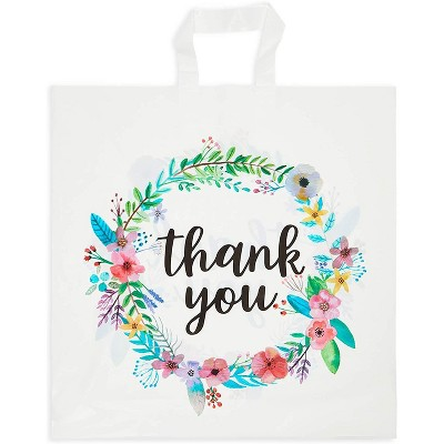 Okuna Outpost 50-Pack Medium Thank You Gift Bags with Handles, Floral Design (18 x 18 In)