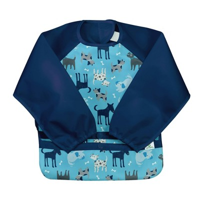 green sprouts Snap & Go Easy-wear Long Sleeve Bib - Aqua Dogs - 12/24 Months
