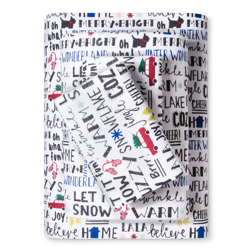 Flannel Sheet Set (Queen) Message Print - Evergreen