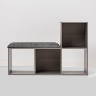 Cube Bookshelf with Bench Gray - Room Essentials™