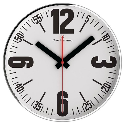"Classic Line 16"" Round Wall Clock Black/Chrome - Oliver Hemming® - image 1 of 1"