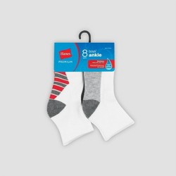 Hanes Premium Boys' 8pk Ankle Athletic Socks