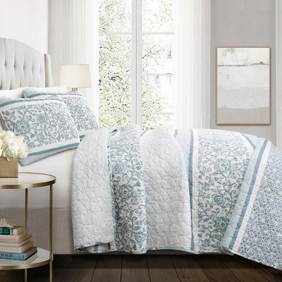 Nisha Quilt Set Blue - Lush Décor