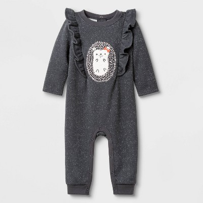 Baby Girls' Hedgehog Ruffle Critter Romper - Cat & Jack™ Gray 6-9M