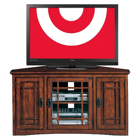 46 Riley Holliday Corner Tv Stand With Storage Mission Oak Leick