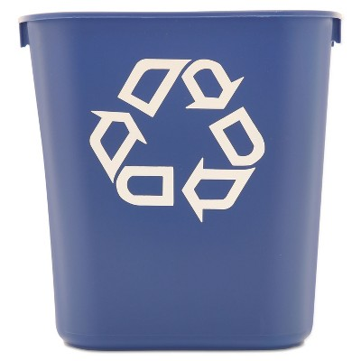 Rubbermaid Commercial Small Deskside Recycling Container Rectangular Plastic 13.625qt Blue 295573BE