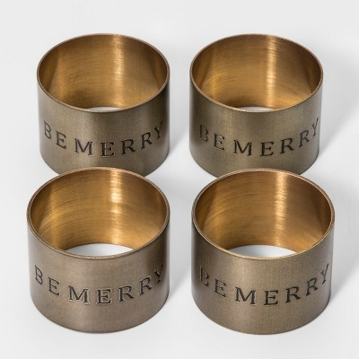 4ct Be Merry Napkin Rings Gold - Threshold™