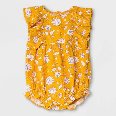 Baby Girls' Floral Woven Ruffle Leg Romper - Cat & Jack™ Yellow Newborn
