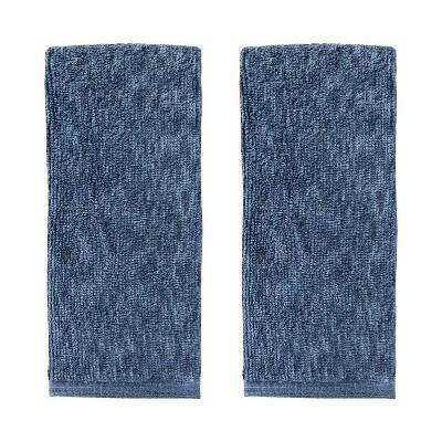 2pc Shibori Stripe Jacquard Hand Towel Set Navy - SKL Home