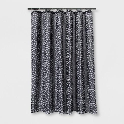 Woven Dot Shower Curtain Black