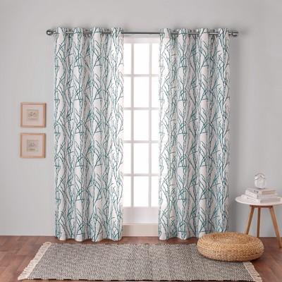 Branches Linen Blend Grommet Top Window Curtain Panel Pair - Exclusive Home™