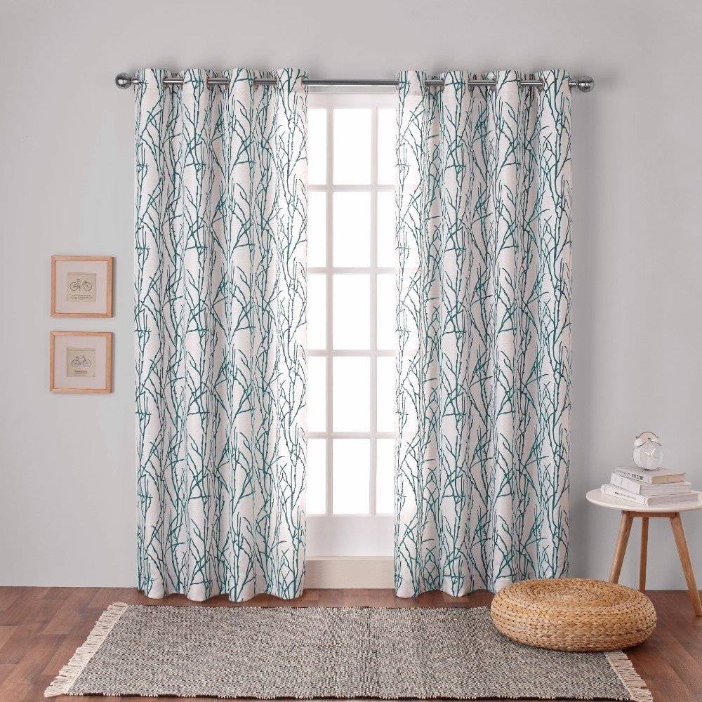 Branches Linen Blend Grommet Top Window Curtain Panel Pair Teal (Blue) (54