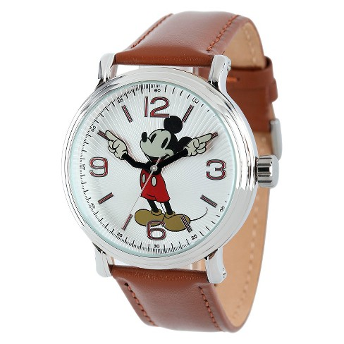 Men's Disney® Mickey Mouse Shinny Vintage Articulating Watch with Alloy Case - Brown - image 1 of 2