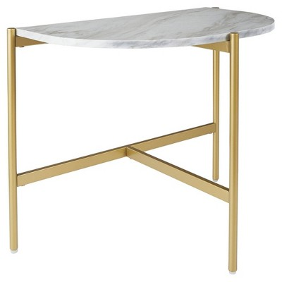 Crescent Moon Shaped Marble Top Metal Chair Side End Table White/Gold - Benzara
