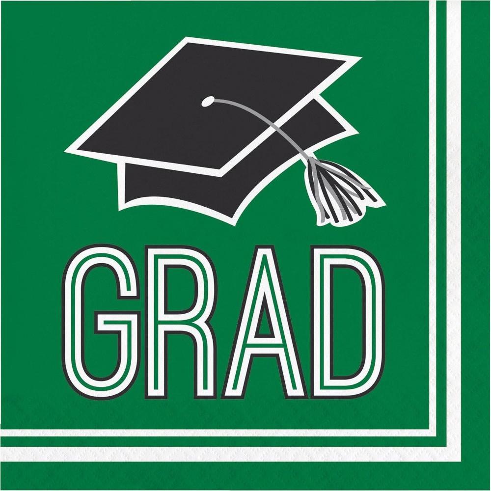 Image of 108ct Graduation School Spirit Disposable Napkins Green
