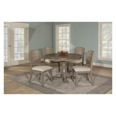 Superbe Clarion Five (5) Piece Round Dining Set With Side Chairs Distressed Gray    Hillsdale Furniture