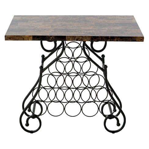 "Brown/Black Faux Marble Veneer Wine Rack Table (28""H) Home Source Industries - image 1 of 1"