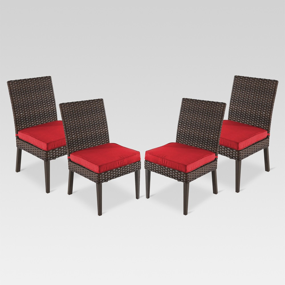 Halsted 4pk Wicker Patio Dining Chair - Red - Threshold was $449.99 now $224.99 (50.0% off)