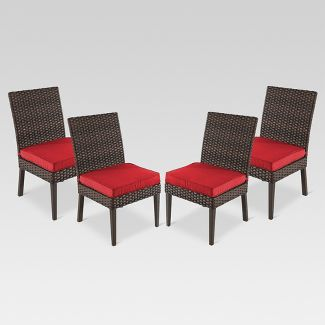 Halsted 4pk Wicker Patio Dining Chair - Red - Threshold™