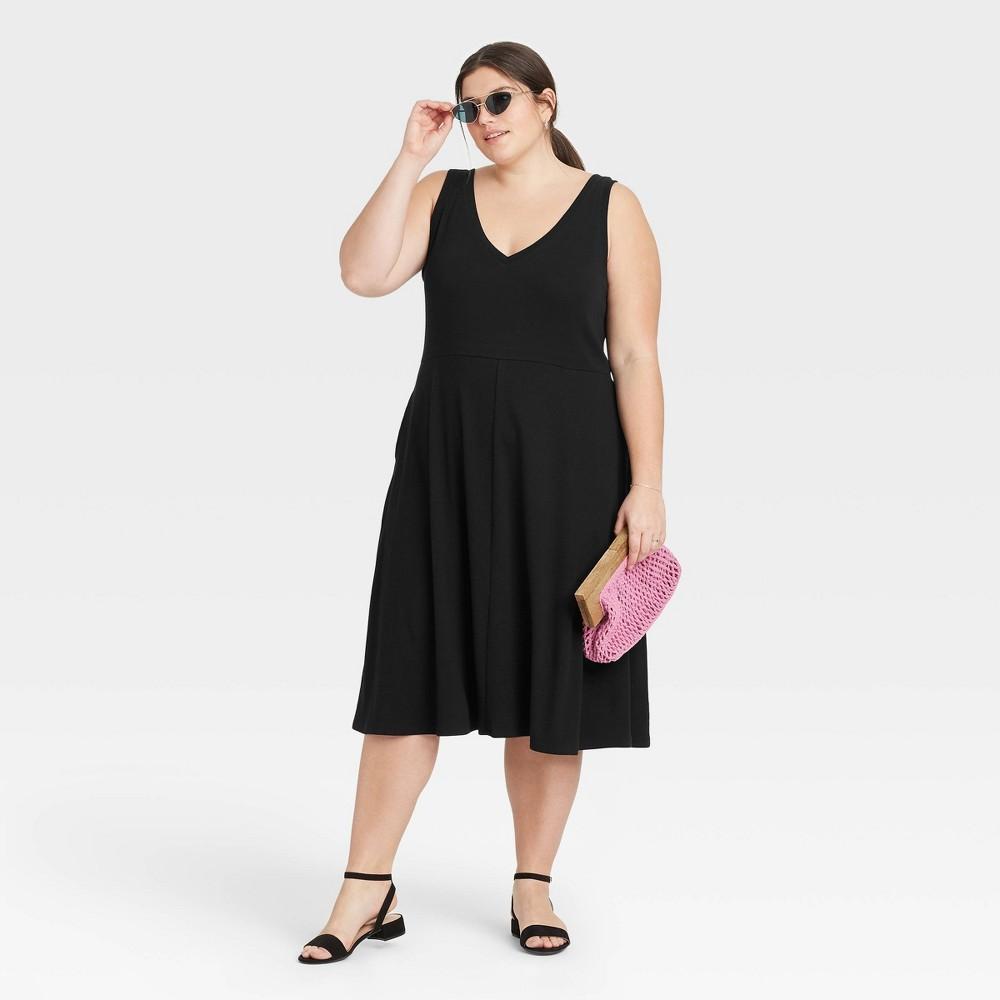 Women 39 S Plus Size Sleeveless Rib Knit Ballet Dress A New Day 8482 Black 4x