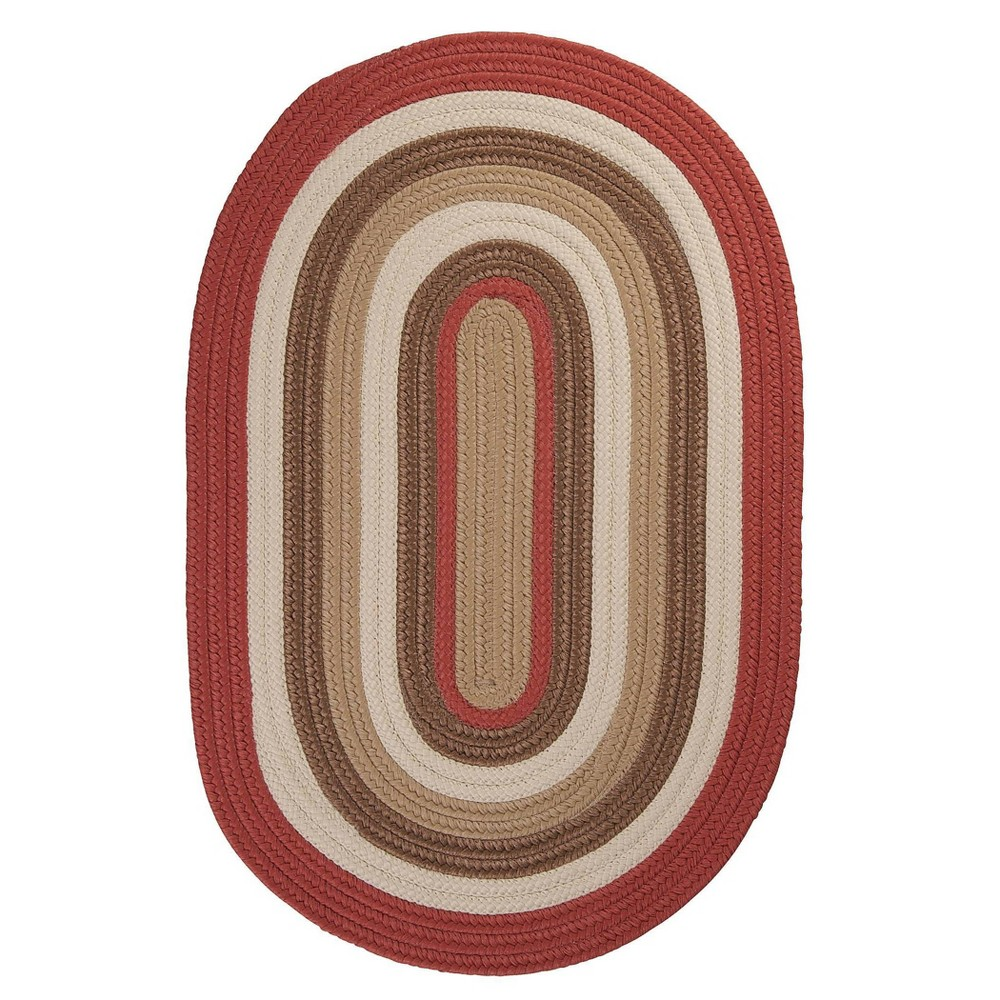 Oval Mountain Top Braided Area Rug Red