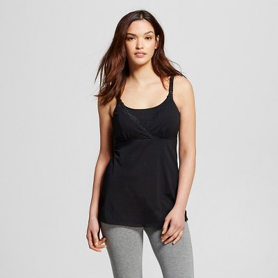 Women's Nursing V-Neck Cami with Lace Black L - Gilligan & O'Malley™