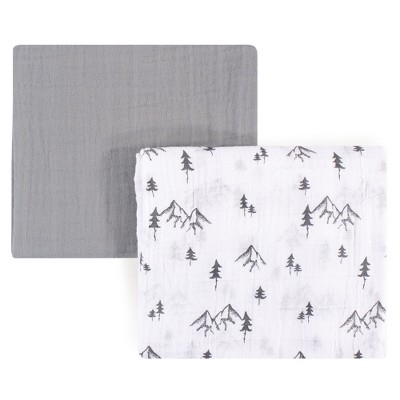 Yoga Sprout Baby Boy Cotton Muslin Swaddle Blankets, Mountain, One Size