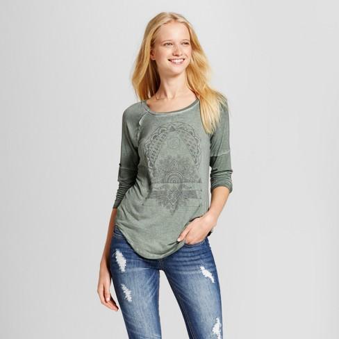 e9613c07712 Women s Art Geo Long Sleeve Drapey Graphic T-Shirt - Zoe+Liv (Juniors )  Olive