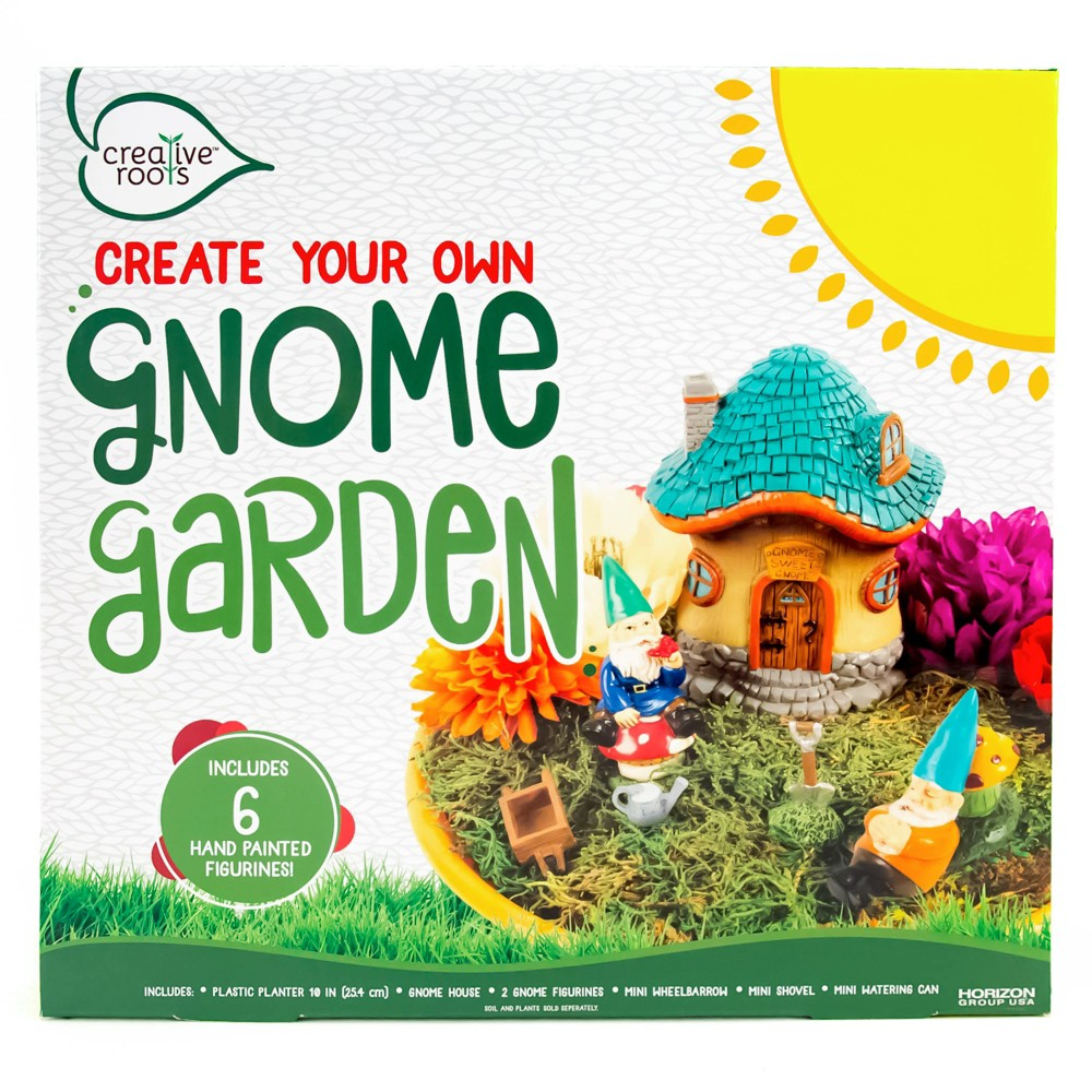 Image of Creative Roots Create Your Own Gnome Garden 6pc Set, White