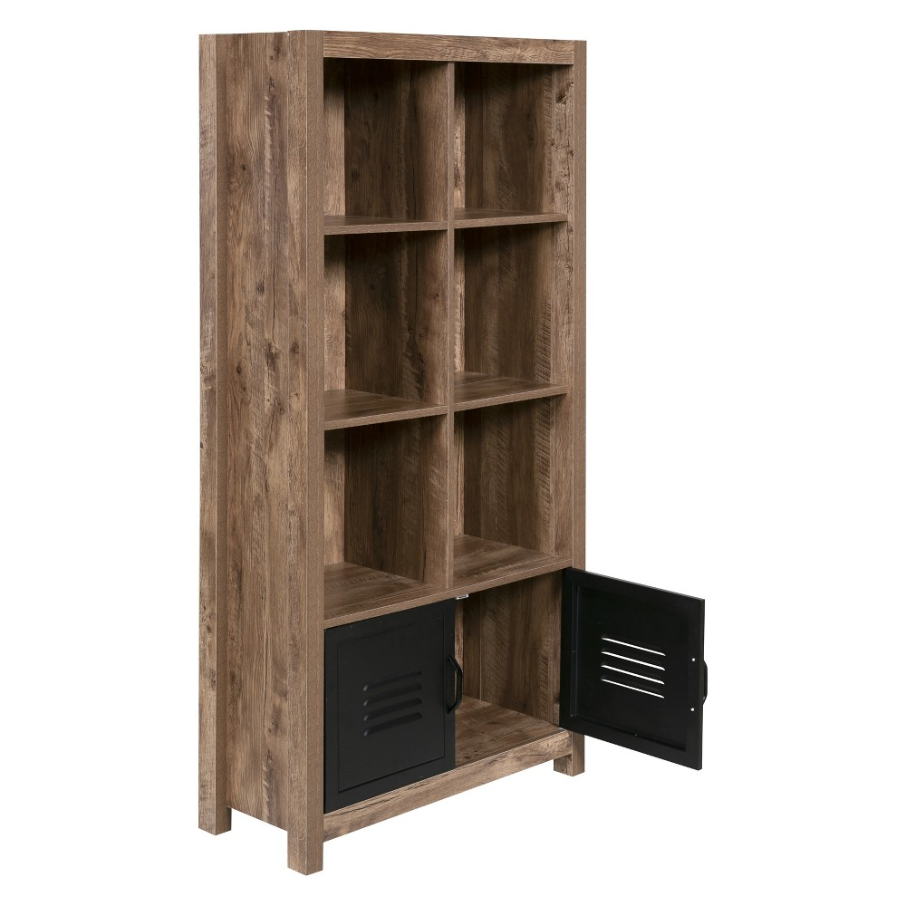 "Image of ""59.45"""" Norwood Range Bookshelf Wood And Black Metal Oak - OneSpace, Brown"""