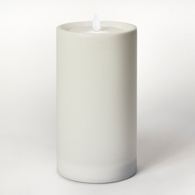 9  Outdoor LED Motion Flame Resin Candle White - Threshold™